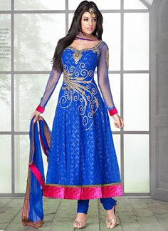 Shop this product from here.. http://www.silkmuseumsurat.in/royal-blue-shaded-resham-work-net-anarkali-suit?filter_name=4672  Item :#4672  Color: Blue Fabric: Net Occasion: Bridal, Party, Reception, Wedding Style: Anarkali Dress Work: Embroidered, Patch Border, Resham