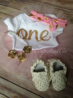 Baby girls first birthday outfit with knecklace and by BespokedCo