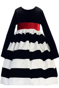 Black Stretch Velvet & Flocked White Taffeta Holiday Dress w Red Sash (Girls 6 months - Size 10)