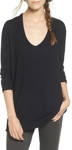 WOMEN'S BP. V-NECK LONG SLEEVE SWEATER. Supersoft with long, scrunchable sleeves, this lightweight V-neck sweater is perfect for layering as the warm days dwindle.