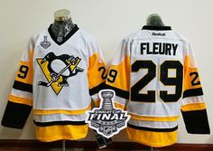 Penguins #29 Andre Fleury White New Away 2017 Stanley Cup Final Patch Stitched NHL Jersey