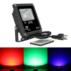 LTE 10W Remote Control RGB LED Flood Lights, Color Changing LED Security Light, 16 Colors & 4 Modes, IP66 Waterproof LED Floodlight, US 3-Plug, Wall Washer Light - - Amazon.com