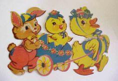 """1952 Dennison 'Rabbit, Chick, Duck' Die Cut Decoration. Size: 10 3/4"""""""