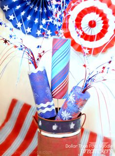 Patriotic Pool Noodle Firecracker Craft