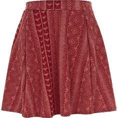Red geometric print skater skirt - skater skirts - skirts - women ($1-20) - Svpply