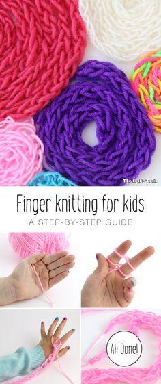 Finger knitting for kids - The Craft Train Yarn Crafts For Kids, Sewing Projects For Kids, Yarn Projects, Sewing For Kids, Easy Crafts, Sewing Ideas, Kids Diy, Decor Crafts, Arm Knitting