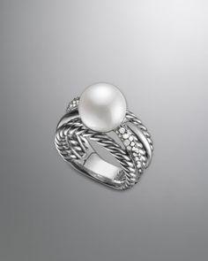 David Yurman Pearl Crossover Ring at London Jewelers! Jewelry Box, Jewelry Accessories, Jewelry Design, Jewellery, Jewelry Ideas, Crossover Ring, Wide Rings, Jewelry Companies, David Yurman