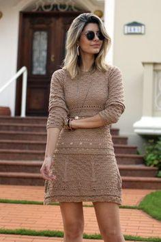 Ideias Fashion, Feminine, Crochet, Sweaters, Dresses, Dress With Sweater, Crochet Dresses, Knitting And Crocheting, Lace