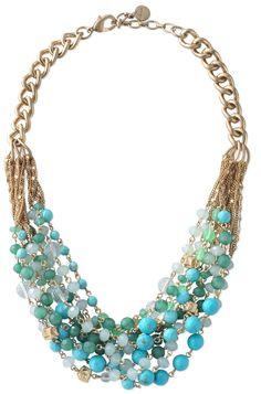 Green, Blue & Gold Cascading Bib Necklace   Maldives Necklace   Stella & Dot