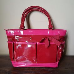 Cynthia Rowley Patent Leather Red Hot Pink Purse Tote Organizer Handbag #CynthiaRowley #TotesShoppers