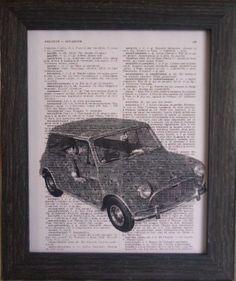Car print  first on an vintage french dictionary by frenchprints, $10.00