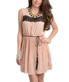 Take a look at the Beige Lace Scoop Neck Dress on #zulily today!