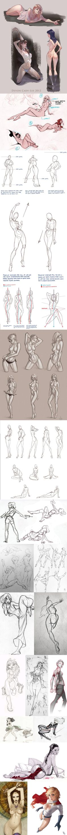 great pose info - female Body study - anatomical reference - woman in different positions - drawing reference