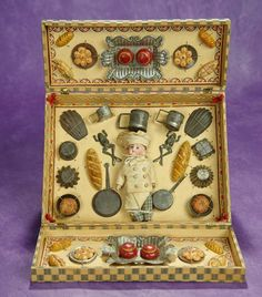 """French Presentation Box """"Little Chef with Kitchen Pots and Foods"""". $1200/1600"""
