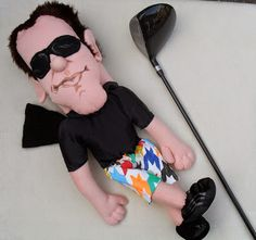 puppets in a bag: Portrait Golf Club covers - golf GIFTS