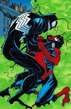Spider-Man vs Venom by John Romita Jr. Comic Movies, Comic Book Characters, Comic Character, Comic Books Art, Comic Art, Book Art, Fictional Characters, Venom Comics, Marvel Venom
