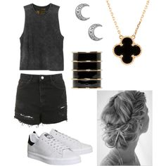 Untitled #50 by dias-elodieferreira on Polyvore featuring polyvore fashion style RVCA Topshop adidas Van Cleef & Arpels Balmain
