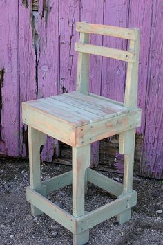 Painted Pallet Wood Bar Stool with Back by UpcycledWoodworks on Etsy