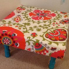 Homemade ottoman! Fabric,foam, plywood and legs! Under $50!