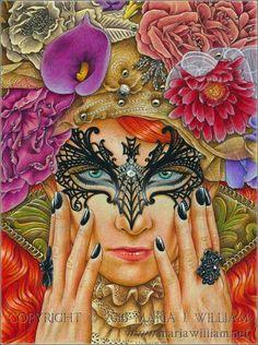 """Dark Fiesta"", colored pencils on tinted paper, 9x12"". Model: Maria Amanda (http://mariaamanda.deviantart.com)."