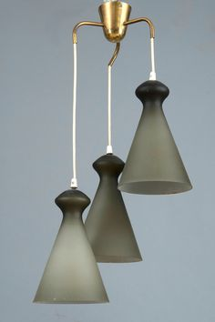 Maria Lindeman; Brass and Glass Ceiling Light for Idman Oy, 1950s.