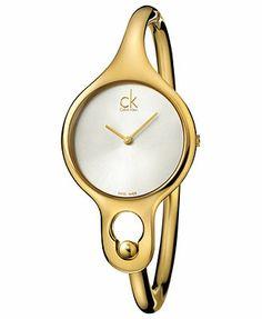 ck Calvin Klein Watch, Women's Swiss Air Gold PVD Stainless Steel Bangle Bracelet 30mm K1N22526