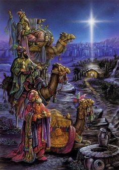 Three wise men visit Baby Jesus in the manger. Christmas Scenes, Christmas Nativity, Christmas Love, Christmas Pictures, Christmas Holidays, Christmas Decorations, Christian Christmas, Star Of Bethlehem, Three Wise Men