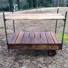 Antique Vintage Luggage Cart Coffee Table circa 1920 with Cast ...