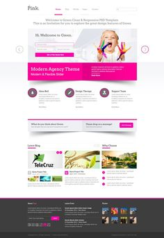 Web design inspiration: bright / bold / pop of color / pink / minimal / 3D / shadows | Green PSD Template #webdesign