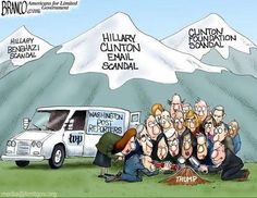 Cartoonist A. Branco shows us what the mainstream media is missing as they paw through a mountain of Donald Trump molehills and ignore Hillary's mountains of corruption. Trump Political Cartoon, Political Cartoons, Political Satire, Politics Humor, Satirical Cartoons, Trump Cartoons, Political Quotes, Political Figures, Political Views