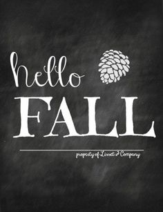 Hello Fall Chalkboard Style Instant Download