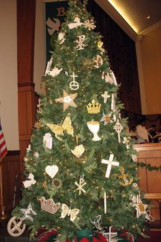 Chrismons on the church tree