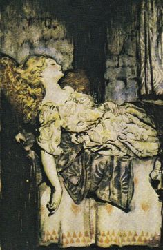 This illustration of Briar Rose by Arthur Rackham (1867-1939) is from The Sleeping Beauty retold by C. S. Evans and published in 1920.