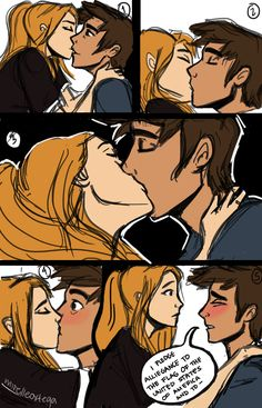 """"""" Orion: So… do you want to make out? Artemis: No. Orion: Good! Everybody knows you're a lousy kisser anyw- """" It started as a collage of wips of Artemis and Orion (like the one I did for bbxrae)… and..."""