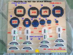 hama beads Plantilla de R2-D2 STAR WARS Tablero nº 2 son 2 tableros