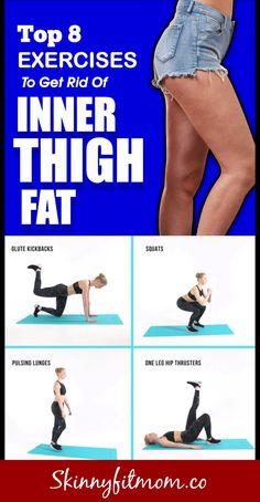 Top 8 Exercises To Get Rid Of Inner Thigh Fat In Just 14 Days Have you been wond. Top 8 Exercises To Get Rid Of Inner Thigh Fat In Just 14 Days Have you been wondering how to tone y Gym Workout Tips, Easy Workouts, Workout Videos, Fat Workout, Workout To Slim Thighs, Leg Gap Workout, Skinnier Legs Workout, Thigh Gap Exercise, Exercise For Back Pain
