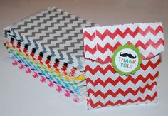 Party Favor Bags - Chevron Paper Treat Bags - Bakery Bags 7x5 medium size - You PICK COLOR - 12 count via Etsy