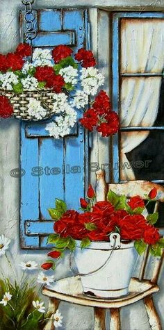 Stella Bruwer white enamel bucket red flowers on shabby chair hanging wicker basket with red and white blue shutter and window with white curtain Decoupage Vintage, Vintage Diy, Pinturas Em Tom Pastel, Stella Art, Creation Photo, Art Themes, Beautiful Paintings, Red Flowers, Bunt
