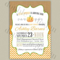 Hey, I found this really awesome Etsy listing at https://www.etsy.com/listing/201646142/little-pumpkin-baby-shower-invitation
