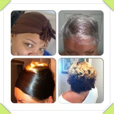 Stages of my roller wrap on natural hair