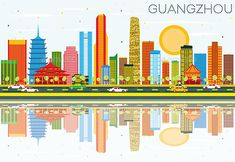 Guangzhou Skyline with Color Buildings, Blue Sky and Reflections