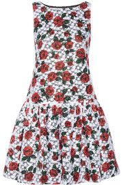 Moschino Floral-print embroidered organza drop-waist dress