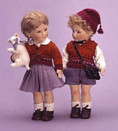 "What a pair! Scott & Lisa (each 17""), molded felt, fully jointed, from RJW 1985-6 Series 2 Little Children, LE/250"