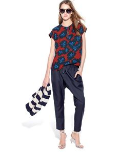 FEB '15 Style Guide: J.Crew women's firework floral top, Collection slouchy pant, women's mirror metallic high-heel sandals, mixed stripe sweater, and Illesteva Leonard II sunglasses at J.Crew.