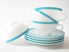 Set of 4 Vintage Pyrex Turquoise Blue and White Tea Cups with Saucers