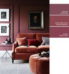 Sala de estar com parede vinho com boiseries, como escolher tinta na cor rosa para pintar sua casa Get The Color Pink Natalia Billa Art Studio