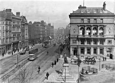 Westmoreland Street (looking to O'Connell Bridge, including a tram), Dublin City, Co. Ireland Pictures, Old Pictures, Old Photos, Dublin Street, Dublin City, Hotel Signage, Image Center, Imperial Hotel, Photo Engraving