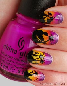 Tropical Sunset Nail Art