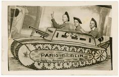 c. 1944-1945 French soldiers in studio tank prop. Unidentified location, France. (Photo viaCollection of Christopher B. Steiner)  via @AOL_Lifestyle Read more: https://www.aol.com/article/news/2017/07/31/goofy-found-photos-record-wwi-soldiers-posing-with-fake-military/23057869/?a_dgi=aolshare_pinterest#fullscreen