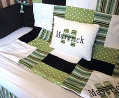 Boy Baby Bedding Set  4 pc Personalized Minky Quilt by KNHDesigns